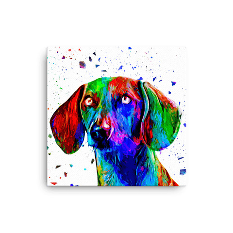 Dachshund Colorful Low Poly Canvas 12x12