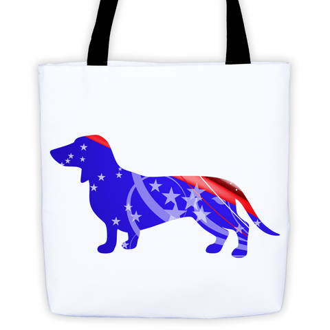 Dachshund Patriotic Shape All-Over Tote Bag