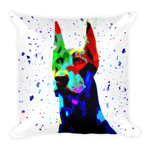 Doberman Colorful Low Poly Decorative Pillow - Front View