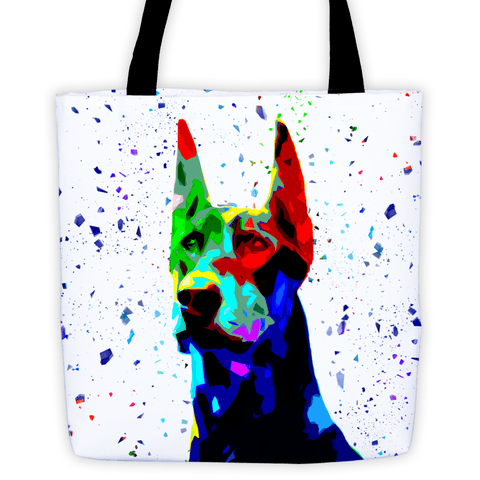 Doberman Colorful Low Poly All-Over Tote Bag