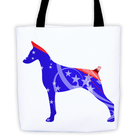 Doberman Patriotic Shape All-Over Tote Bag