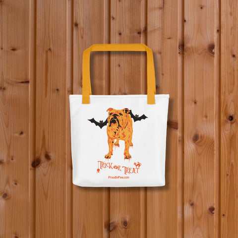 English Bulldog Halloween Trick Or Treat Tote Bag Yellow Handles On Wood Floor