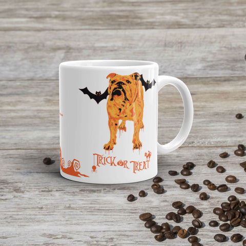 English Bulldog Halloween 11oz Ceramic Mug Coffee Mockup Made in USA
