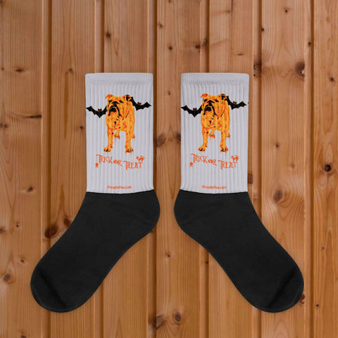 English Bulldog Halloween Trick or Treat - Black Foot Socks