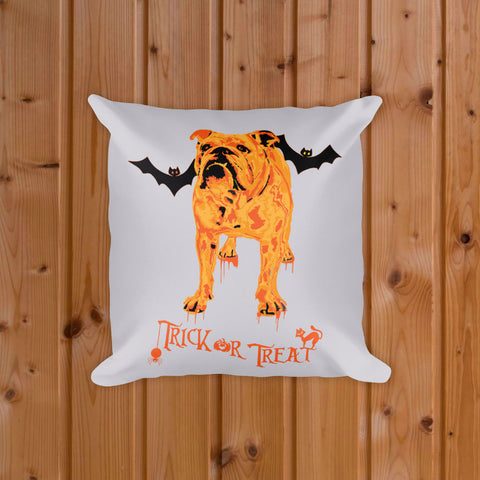 English Bulldog Halloween Trick or Treat Decorative Pillow Front Mockup on Wood Floor