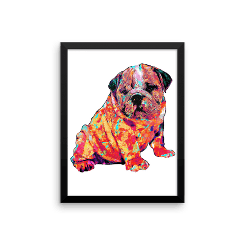 English Bulldog Puppy Colorful Painting Framed Poster 12x16