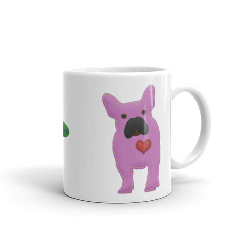 French Bulldog Felt Craft 11oz Ceramic Mug Home Decor for Dog Lovers - Handle On Right View