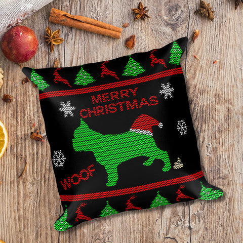 French Bulldog Ugly Christmas Home Decor Square Throw Pillow Black Xmas Scene Preview
