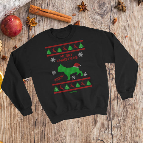 French Bulldog Ugly Christmas Fashion Unisex Crewneck Sweatshirt Black Xmas Scene Preview