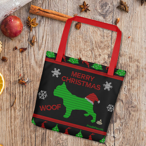 French Bulldog Ugly Christmas Fashion Tote Bag Black Red Handles Xmas Scene Preview