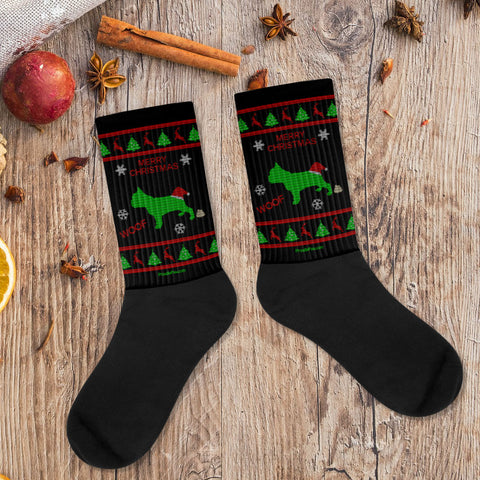 French Bulldog Ugly Christmas Fashion Unisex Socks Black Xmas Scene Preview