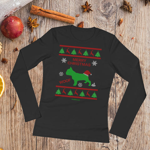 French Bulldog Ugly Christmas Fashion Women Long Sleeve T-Shirt Black Xmas Scene Preview