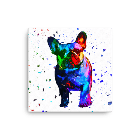 French Bulldog Colorful Low Poly Canvas 12x12