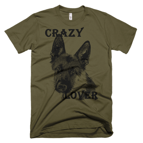 German Shepherd Crazy Lover - American Apparel Fine Jersey Short Sleeve Men - Army