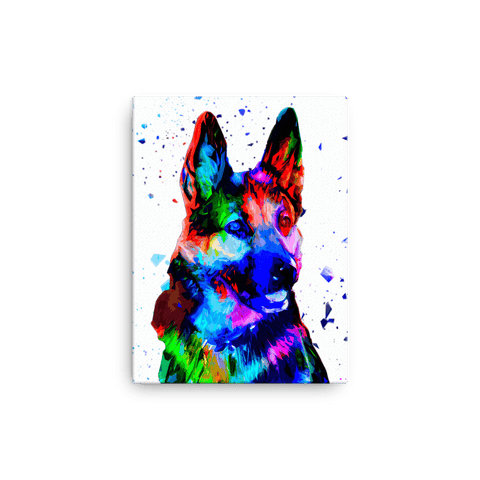 German Shepherd Colorful Low Poly Canvas 12x16