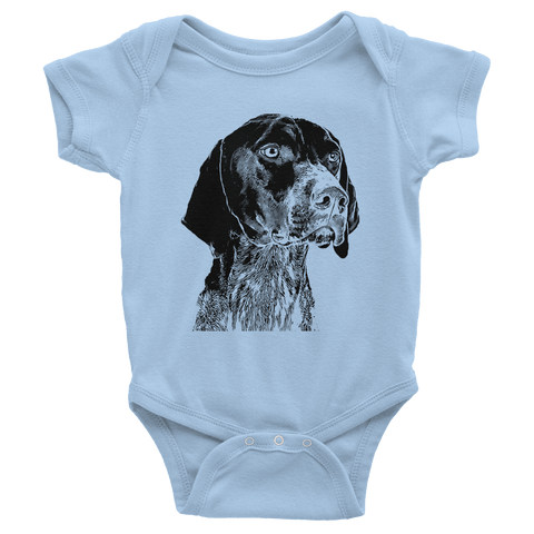 German Shorthaired Pointer Infant Baby Rib Short Sleeve One-Piece - Baby Blue