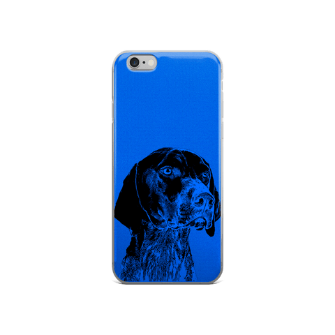 German Shorthaired Pointer Duotone Comic Blue iPhone 6/6s Case