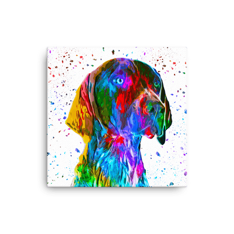 German Shorthaired Pointer Colorful Low Poly Canvas 12x12