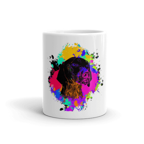 German Shorthaired Pointer Colorful Splash Paint 11oz Mug - Front View