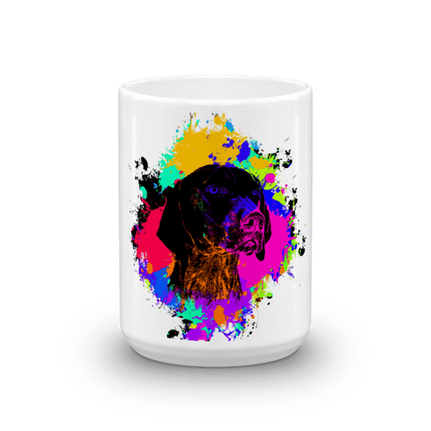 German Shorthaired Pointer Colorful Splash Paint 15oz Mug - Front View