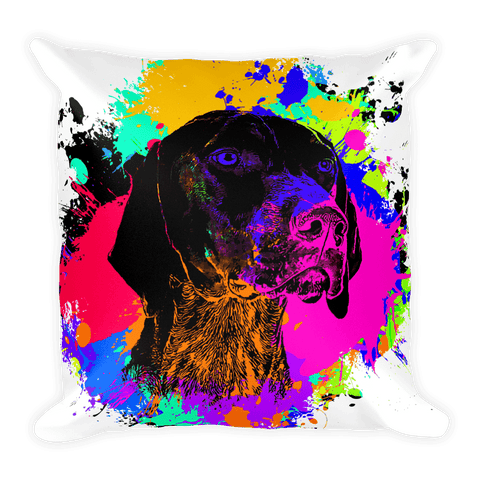 German Shorthaired Pointer Colorful Splash Paint Decorative Pillow