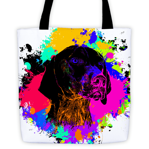 German Shorthaired Pointer Colorful Splash Paint All-Over Tote Bag