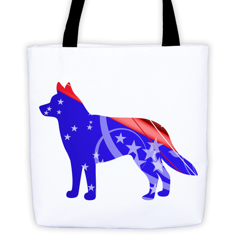 Siberian Husky Patriotic Shape All-Over Tote Bag