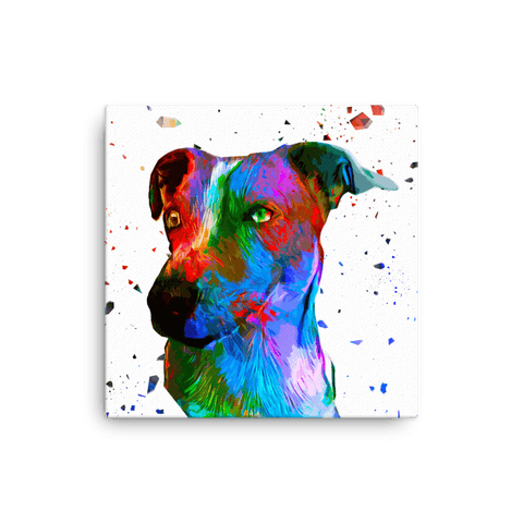 Jack Russell Terrier Colorful Low Poly Canvas 12x12