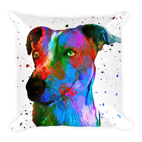 Jack Russell Terrier Colorful Poly Art Decorative Pillow - Front View
