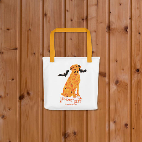 Labrador Retriever Halloween Trick Or Treat Tote Bag Yellow Handle On Wood Floor Mockup