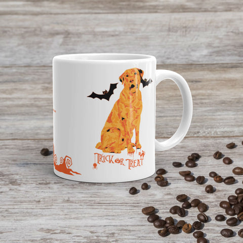 Labrador Retriever Halloween Trick or Treat 11oz Ceramic Mug Handle on Right View Coffee Scene Mockup - Made in USA