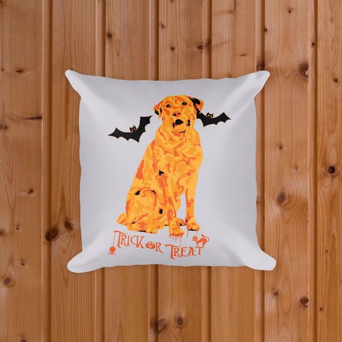 Labrador Retriever Halloween Square Pillow Silver Gray Background Front View on Wood Floor