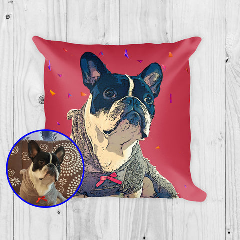 Custom Pop Art Pillow of your Dog with Red Background and Geometric Pattern