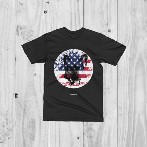Patriotic USA Flag French Bulldog Men Unisex Short Sleeve T-Shirt For Dog Lovers