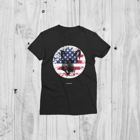 Patriotic USA Flag French Bulldog Women's Short Sleeve T-Shirt For Dog Lovers