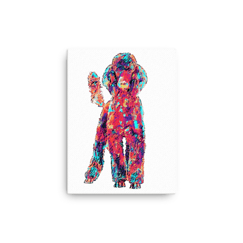 Poodle Colorful Painting Canvas 12x16
