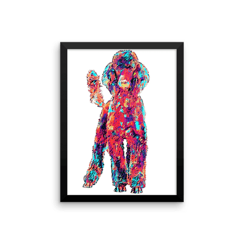 Poodle Colorful Painting Framed Poster 12x16