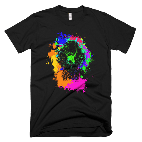 Poodle - Colorful Paint - American Apparel Fine Jersey Short Sleeve Men T-Shirt - Black