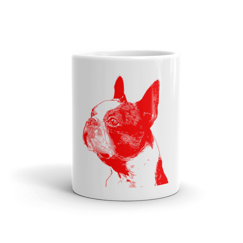 Boston Terrier Duotone Comic Red 11oz Mug - Front View