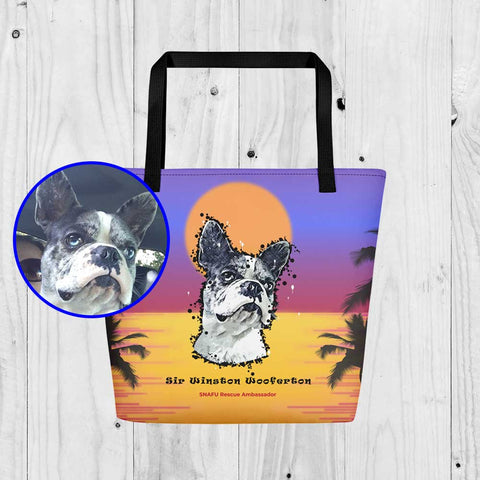 SNAFU Rescue Support Sir Winston Wooferton Paint Art Beach Bag Tote Bag Sunset Black Handles Product ProudlyPaw Image