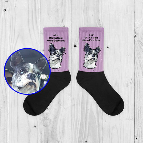 SNAFU Rescue Support Sir Winston Wooferton Paint Art Unisex Fashion Black Foot Socks Light Purple Product ProudlyPaw Image