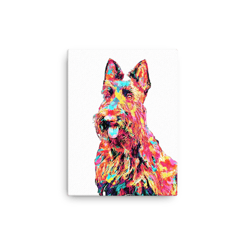 Scottish Terrier Colorful Painting Canvas 12x16