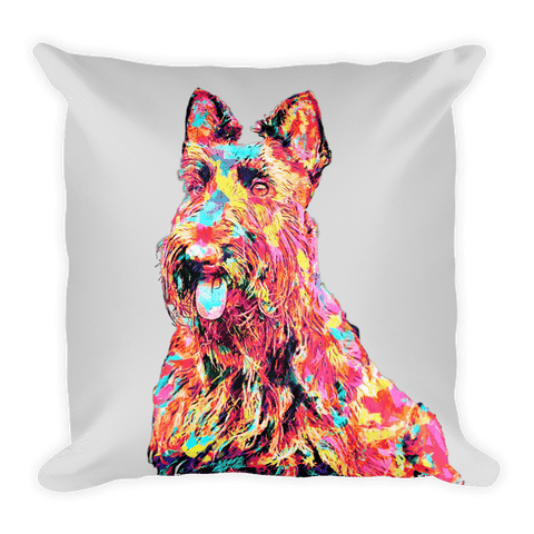 Scottish Terrier Colorful Painting Decorative Pillow