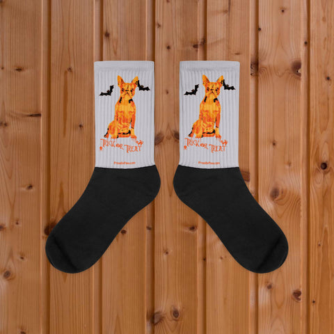 Boston Terrier Halloween Trick Or Treat Silver Socks on Wood Floor Mockup