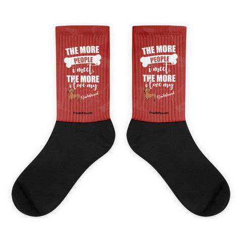 The More People I Meet, The More I Love My Dachshund Black Foot Socks Flat Front Mockup