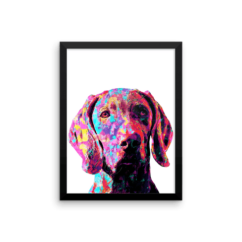 Weimaraner Colorful Painting Framed Poster 12x16