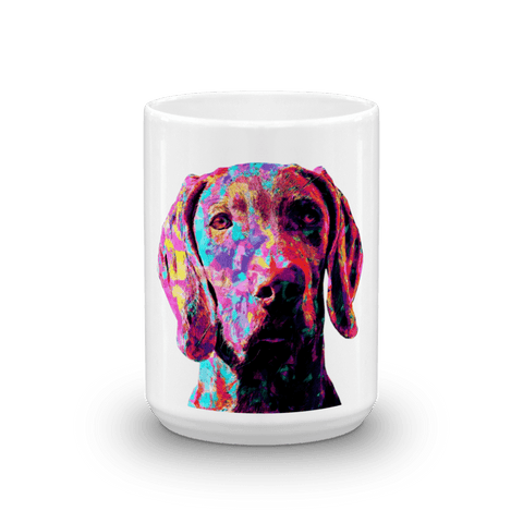 Weimaraner Colorful Painting 15oz Mug - Front View