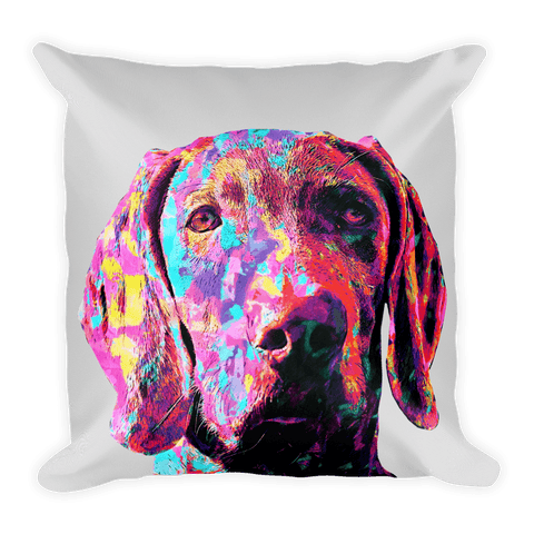Weimaraner Colorful Painting Decorative Pillow