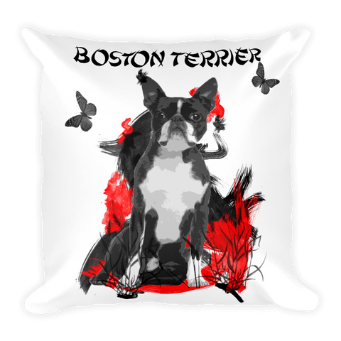 Boston Terrier Chinese Painting - Decorative Pillow