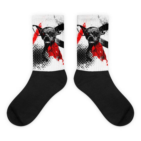Chihuahua Trash Polka Tattoo Style Black Foot Socks